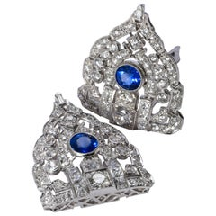 Art Deco Sapphire and Diamond Double Clips