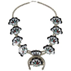 William Zunie Inlaid Turquoise and Mother-of-Pearl Sunface Necklace
