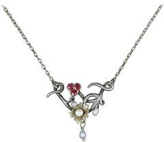 Antique Ruby Pearl Necklace Art Nouveau Silver 9 Carat Gold