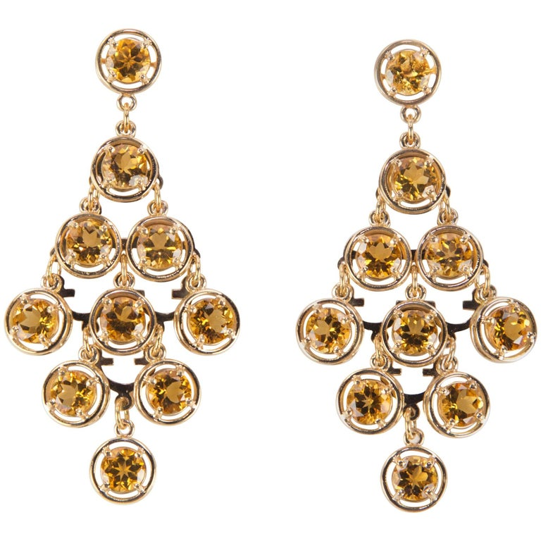 Citrine Chandelier Gold Statement Earrings For