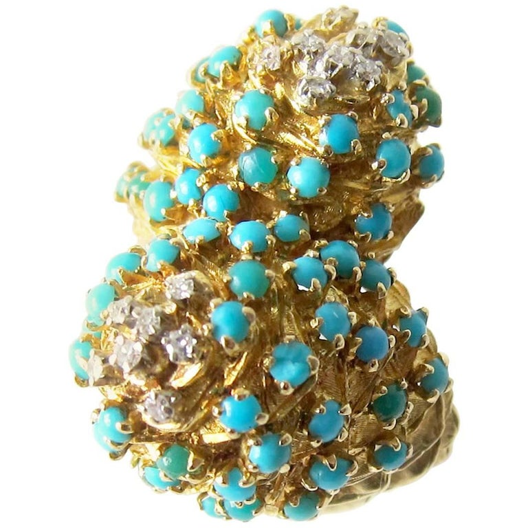 Gold Turquoise Diamond Double Dome Cocktail Ring