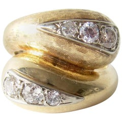 1960s Textured Gold Diamond Bypass Cocktail Ring