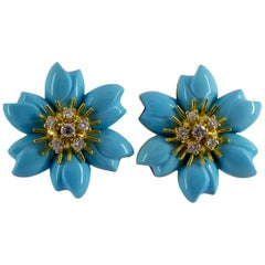Turquoise 0.78 Carat Diamond Yellow Gold Flower Clip-On Earrings