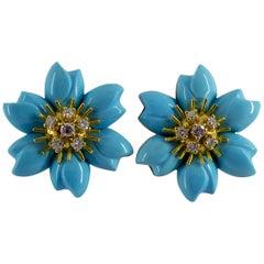 Turquoise 0.78 Carat White Diamond Yellow Gold Flower Dangle Clip-On Earrings