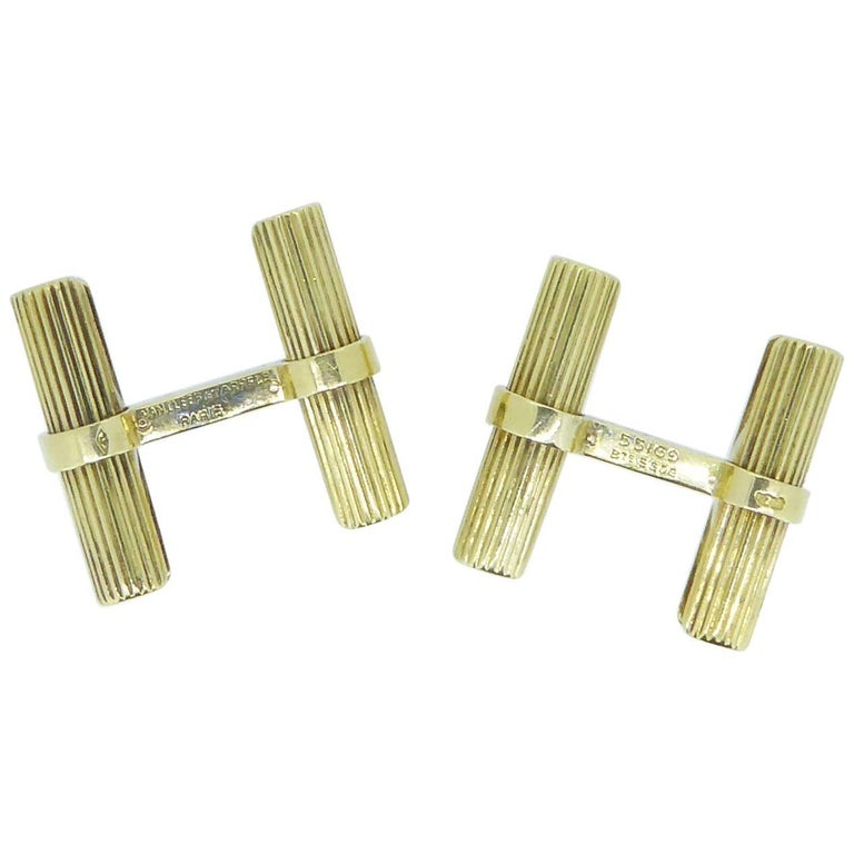 Van Cleef & Arpels Yellow Gold Baton Cufflinks For Sale