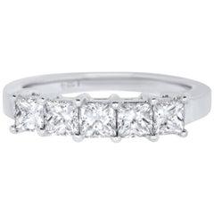 1.24 Carat Princess Cut White Diamond Anniversary Band