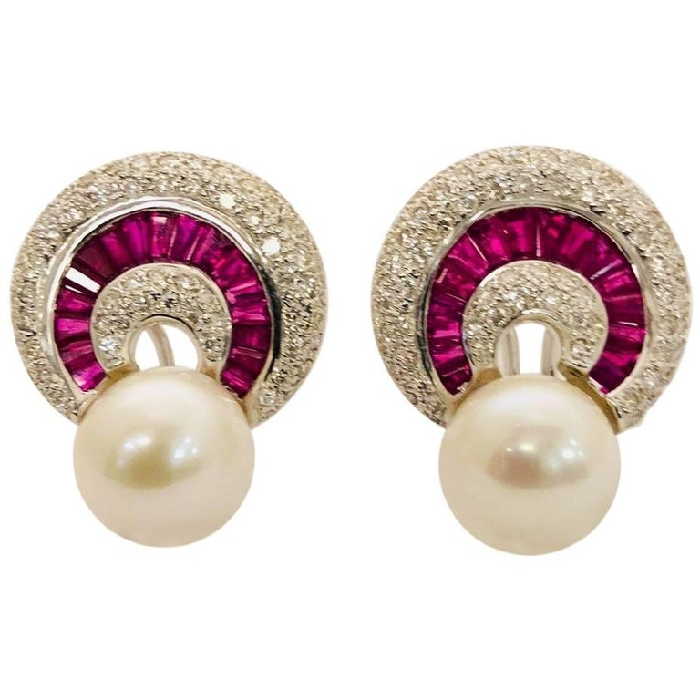 Ruby Diamond and Pearl 18 Karat White Gold Earrings For Sale
