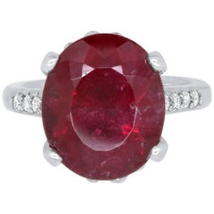 17.36 Carat Oval Rubelite Ring