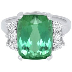 7.31 Carat Green Tourmaline and White Diamond Ring