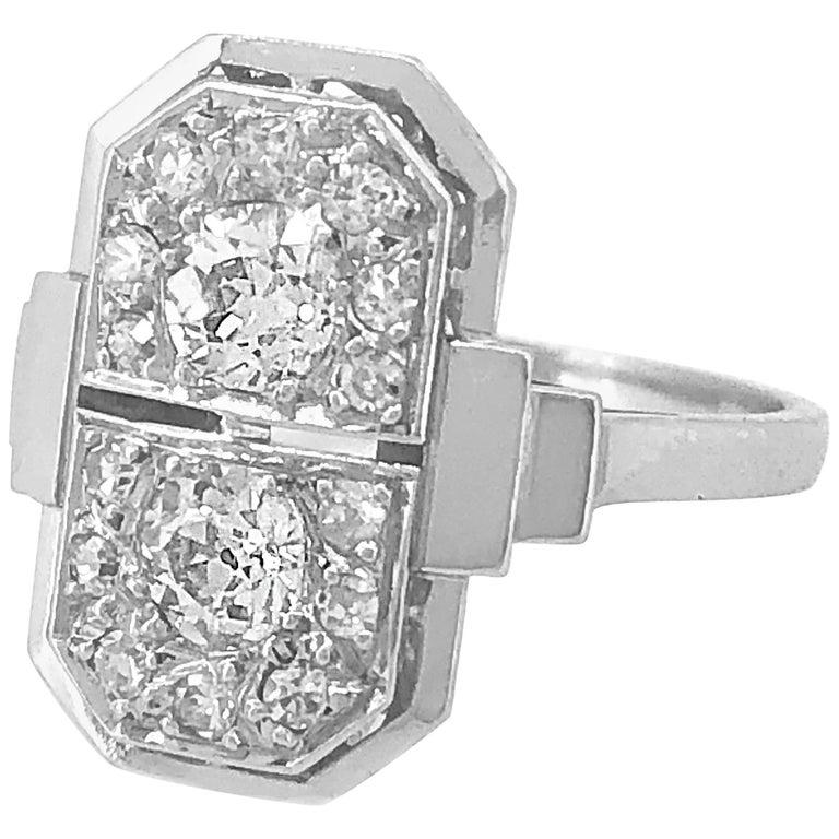 .75 Carat Total Weight Antique Diamond Engagement Platinum Ring