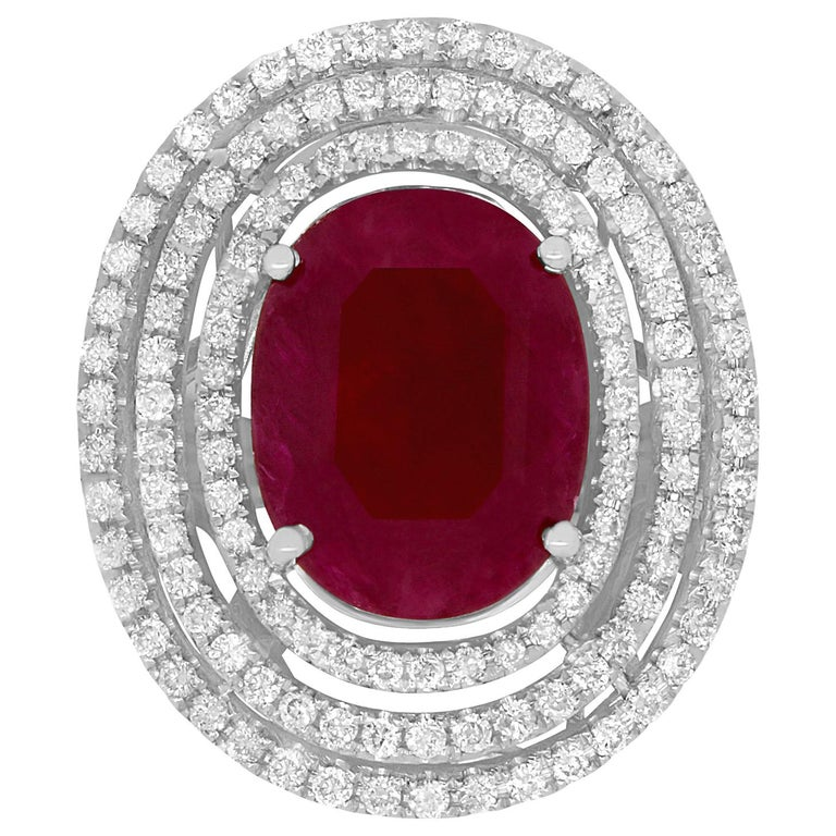 7.06 Carat Oval Ruby and 2.25 Carat White Diamond Ring