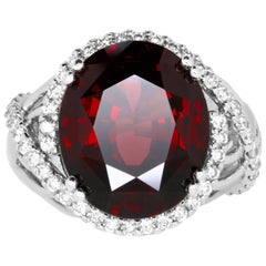 17.16 Carat Oval Rhodolite Garnet and 0.9 Carat White Diamond Ring