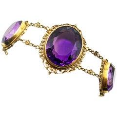 Victorian Amethyst 15 Karat Gold Bracelet