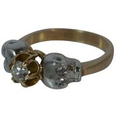 Momento Mori 18 Carat Gold Old Cut Diamond Skull Ring