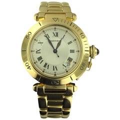 Cartier Yellow Gold Pasha Submersible Diving Self-Winding Wristwatch