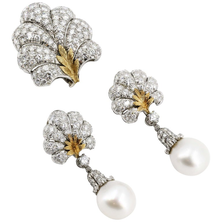 BUCCELLATI Diamond Pearl Platinum 18k Gold Day Night Earrings and Brooch Set For Sale