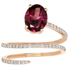 1.95 Carat Oval Rhodolite Garnet and White Diamond Ring
