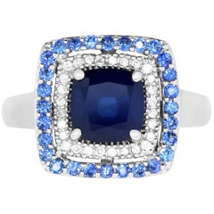 2.25 Carat Cushion Blue Sapphire and White Diamond Ring