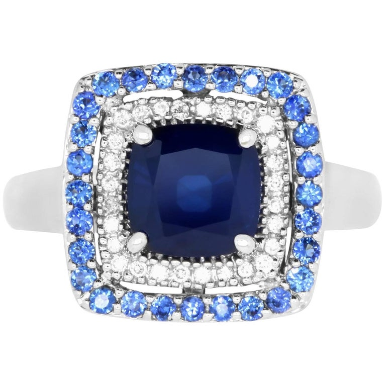 2.25 Carat Cushion Blue Sapphire and White Diamond Ring For Sale