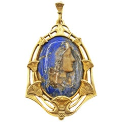 Rare Belle Epoque Lapis Lazuli Madonna Virgin Mary Cameo 18 Karat Gold Pendant