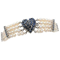 Ladies 14 Karat White Gold 2.86 Carat Sapphire Heart Multi-Strand Pearl Bracelet