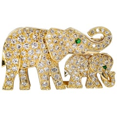 Cartier Diamond, Emerald and Yellow Gold Elephant Brooch