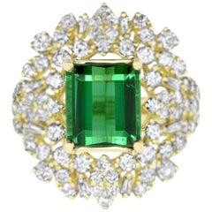 3.76 Carat Green Tourmaline and 2.08 Carat White Diamond Ring
