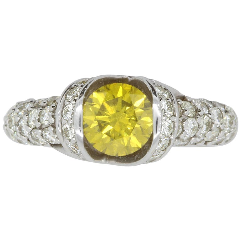 1.16 Carat Round Yellow Diamond and 1.32 Carat White Diamond Ring