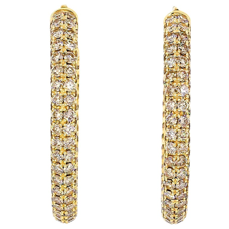 Roberto Coin Colored and White Diamond Gold Hoop Earrings