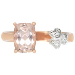 1.3 Carat Cushion Cut Pink Morganite and White Diamond Ring
