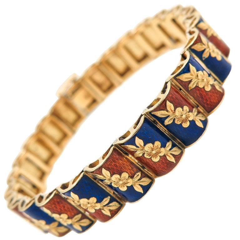 Orange and Blue Enamel Yellow Gold Bracelet