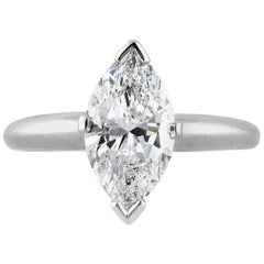 Mark Broumand 2.02 Carat Marquise Cut Diamond Solitaire Engagement Ring