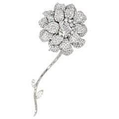 Diamond White Gold Flower Brooch Separating Stem