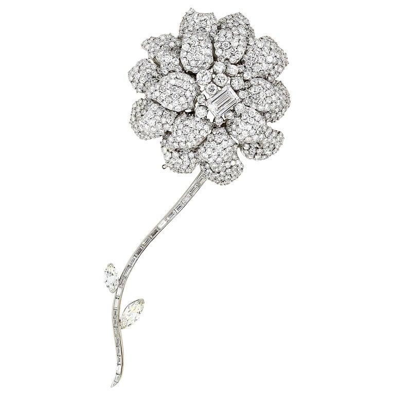 Diamond White Gold Flower Brooch Separating Stem For Sale
