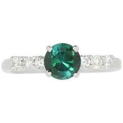 0.96 Carat Green Tourmaline and White Diamond Ring