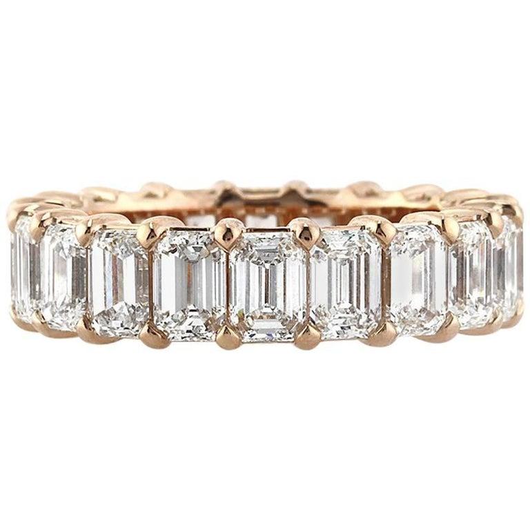 Mark Broumand 6.30 Carat Emerald Cut Diamond Eternity Band in 18 Karat Rose Gold