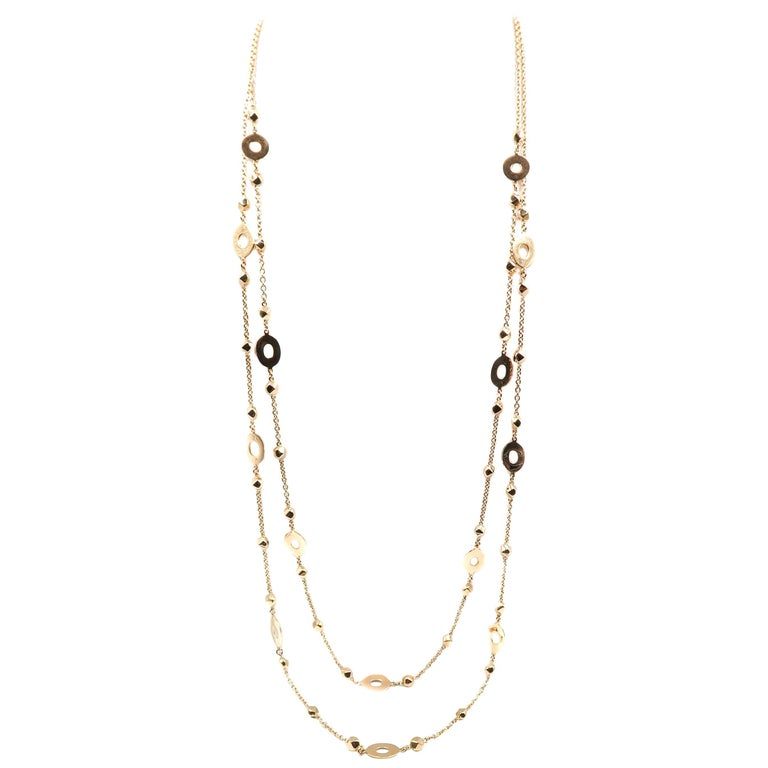 Oval and Round Stations Long Yellow Gold Necklace