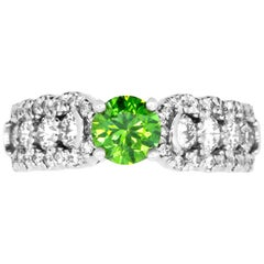 Round Green Diamond and White Diamond Ring