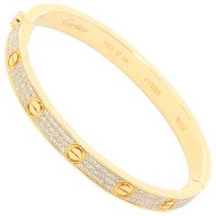 Cartier Love Pave Diamond Bracelet 18 Karat Yellow Gold
