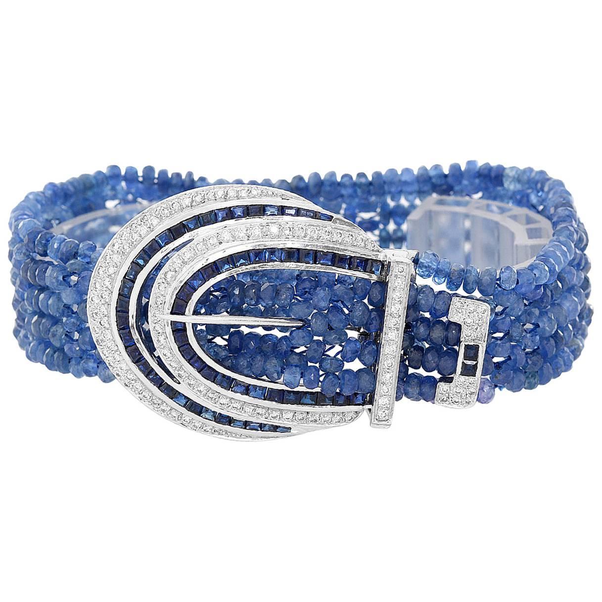 Tanzanite, Diamond and Sapphire 18 Karat White Gold Bracelet