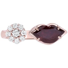 1.75 Carat Garnet and White Diamond Lip Ring