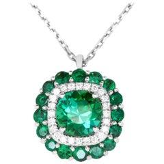 1.79 Carat Green Tourmaline, Emerald and White Diamond Pendant