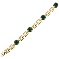 Art Deco French Yellow Gold and Chalcedony Bracelet by Georges Lenfant