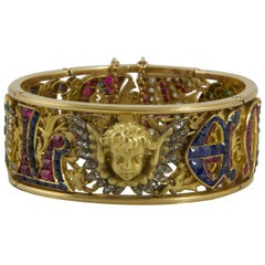 "19th Century Four Precious Stones Bracelet ""Emmanuel"" Made in 1883"