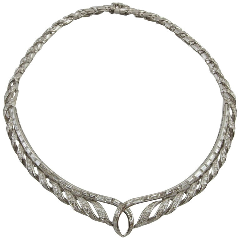 Vintage 1950 Platinum and Gold Diamond Necklace Made in France