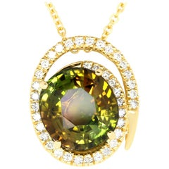 8.92 Carat Oval Tourmaline and White Diamond Pendant