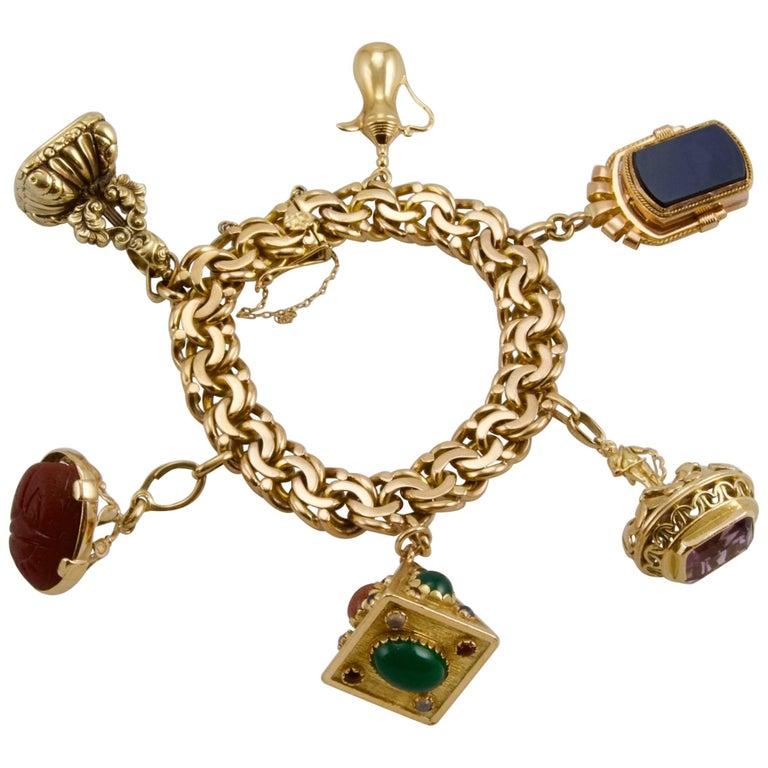 European Charming Large Yellow Gold Charms Bracelet