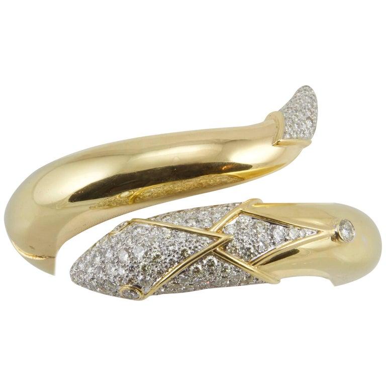 Christian Dior Vintage Diamond and Yellow Gold Snake Bangle