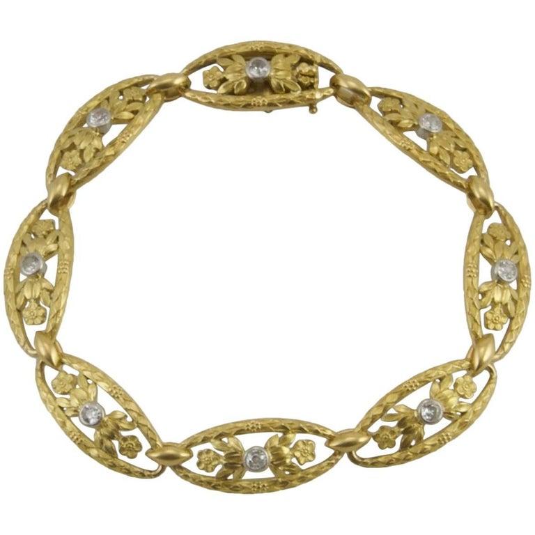 Art Nouveau Yellow Gold and Diamond Bracelet from Paris