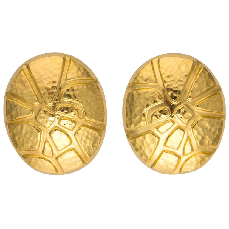 Ilias Lalaounis Oval Textured Gold Earrings